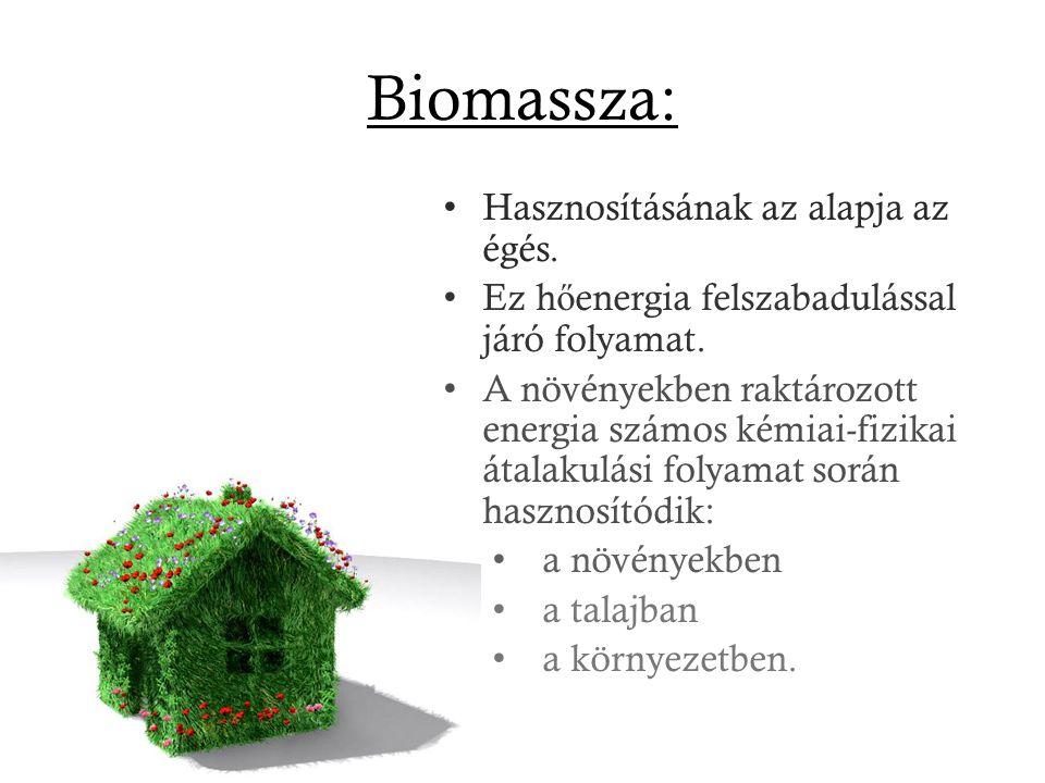 Biomassza: Hasznosításának az alapja az égés. Ez h ő energia felszabadulással járó folyamat. A növényekben raktározott energia számos kémiai-fizikai á