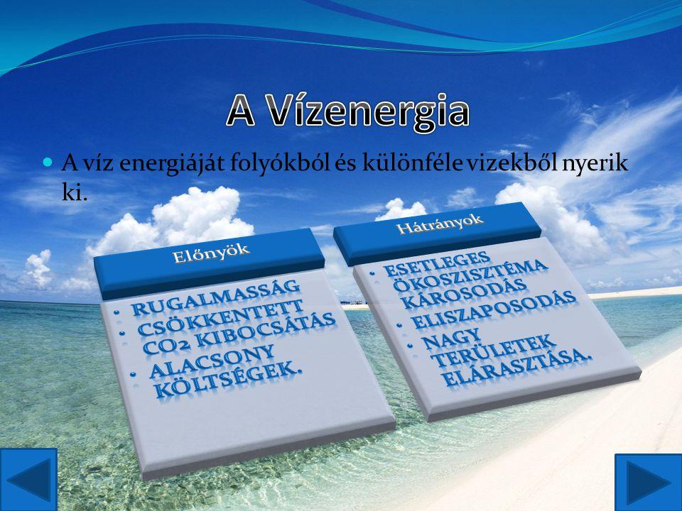 A víz energiáját folyókból és különféle vizekből nyerik ki.