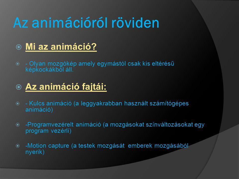 Az animációról röviden  Mi az animáció?  - Olyan mozgókép amely egymástól csak kis eltérésű képkockákból áll.  Az animáció fajtái:  - Kulcs animác