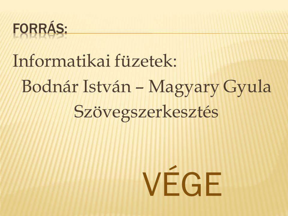 Informatikai füzetek: Bodnár István – Magyary Gyula Szövegszerkesztés VÉGE