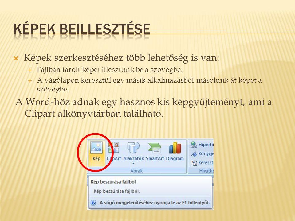  Képek szerkesztéséhez több lehetőség is van:  Fájlban tárolt képet illesztünk be a szövegbe.