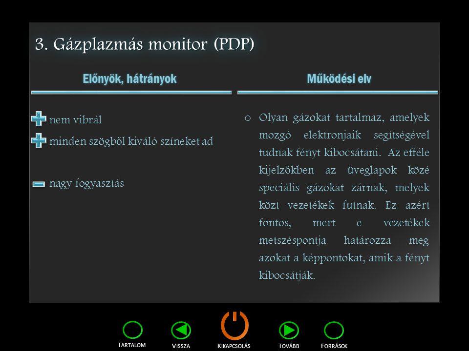 K IKAPCSOLÁS T ARTALOM F ORRÁSOK V ISSZA T OVÁBB 3. Gázplazmás monitor (PDP) Előnyök, hátrányok Működési elv nem vibrál minden szögb ő l kiváló színek