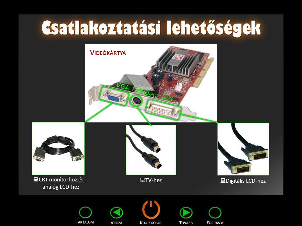 K IKAPCSOLÁS T ARTALOM F ORRÁSOK V ISSZA T OVÁBB Csatlakoztatási lehetőségek V IDEÓKÁRTYA VGA S-Video DVI CCRT monitorhoz és analóg LCD-hez TTV-he
