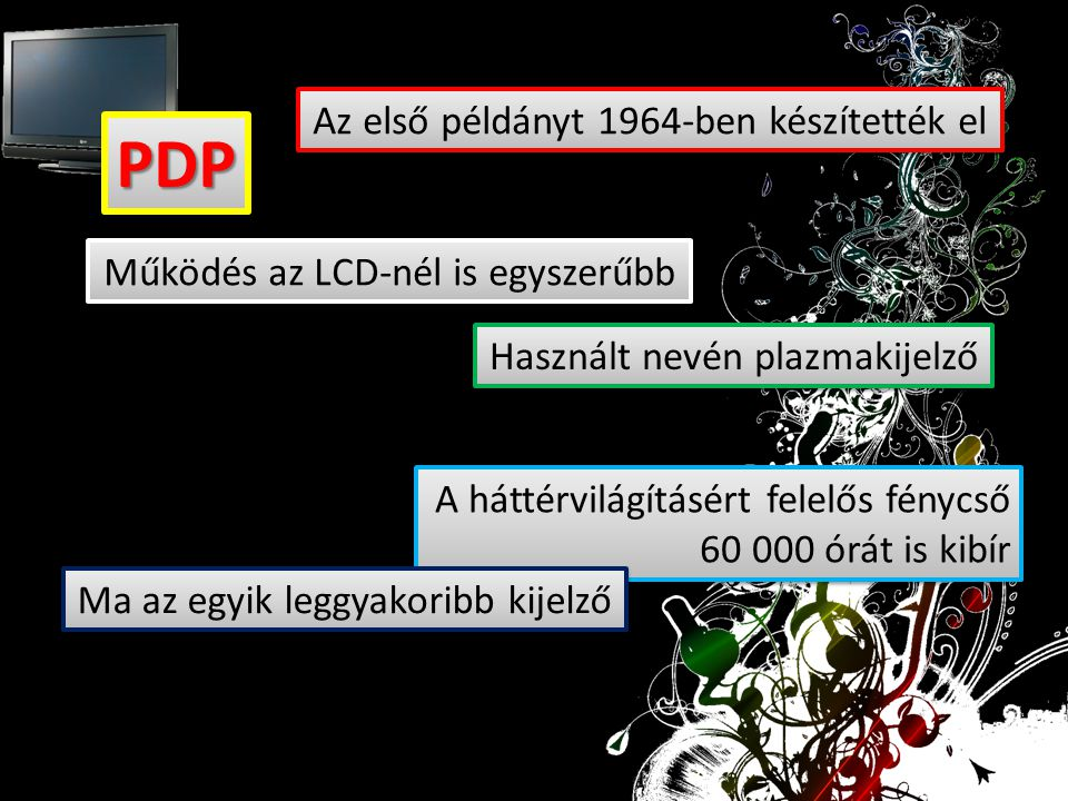 PDPPDP Használt nevén plazmakijelző Az első példányt 1964-ben készítették el Működés az LCD-nél is egyszerűbb A háttérvilágításért felelős fénycső 60