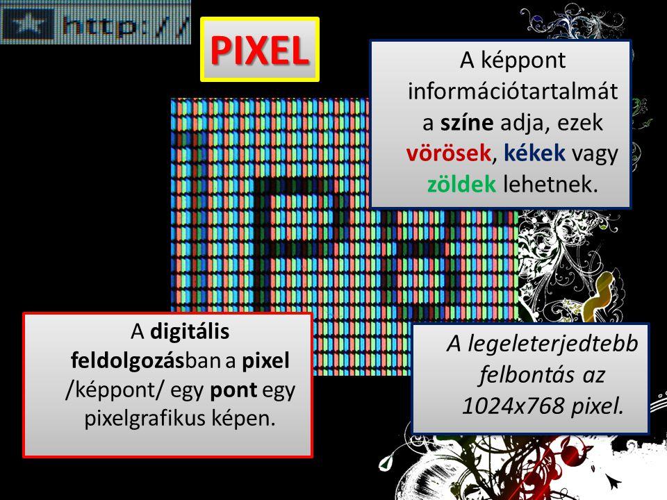 A digitális feldolgozásban a pixel /képpont/ egy pont egy pixelgrafikus képen. A képpont információtartalmát a színe adja, ezek vörösek, kékek vagy zö