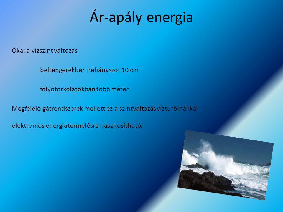 Ár-apály energia Oka: a vízszint változás beltengerekben néhányszor 10 cm folyótorkolatokban több méter Megfelelő gátrendszerek mellett ez a szintvált