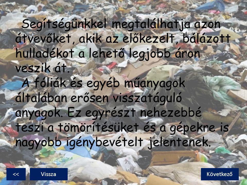 Segítségünkkel megtalálhatja azon átvevőket, akik az előkezelt, bálázott hulladékot a lehető legjobb áron veszik át. A fóliák és egyéb műanyagok által
