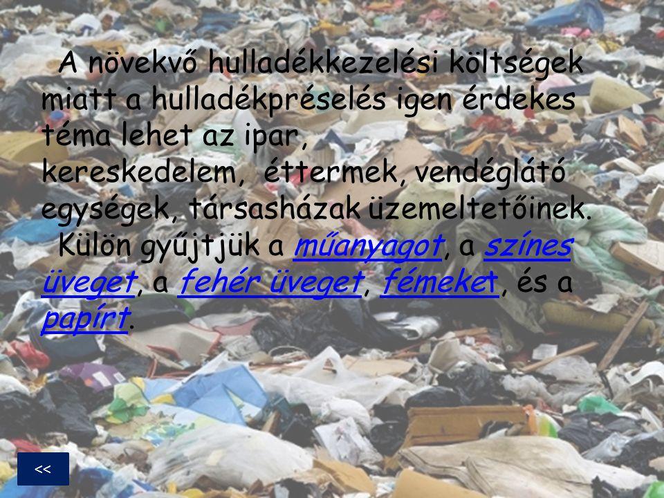 A növekvő hulladékkezelési költségek miatt a hulladékpréselés igen érdekes téma lehet az ipar, kereskedelem, éttermek, vendéglátó egységek, társasháza