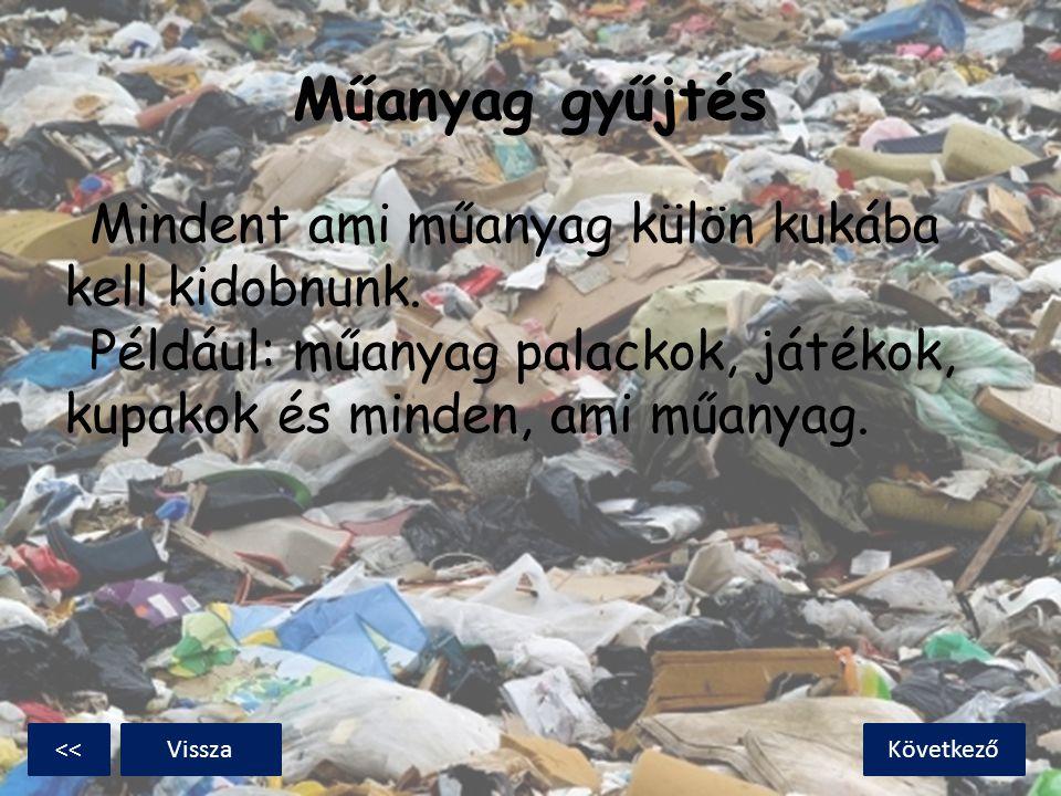 Műanyag gyűjtés Mindent ami műanyag külön kukába kell kidobnunk. Például: műanyag palackok, játékok, kupakok és minden, ami műanyag. KövetkezőVissza<<