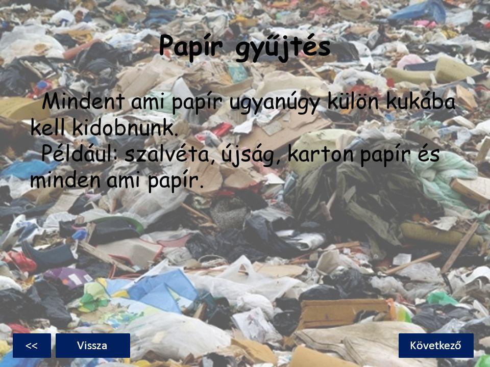 Papír gyűjtés Mindent ami papír ugyanúgy külön kukába kell kidobnunk. Például: szalvéta, újság, karton papír és minden ami papír. KövetkezőVissza<<