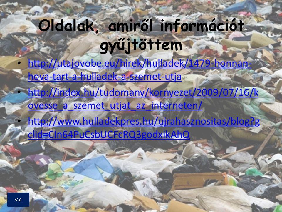 Oldalak, amiről információt gyűjtöttem http://utajovobe.eu/hirek/hulladek/1479-honnan- hova-tart-a-hulladek-a-szemet-utja http://utajovobe.eu/hirek/hu