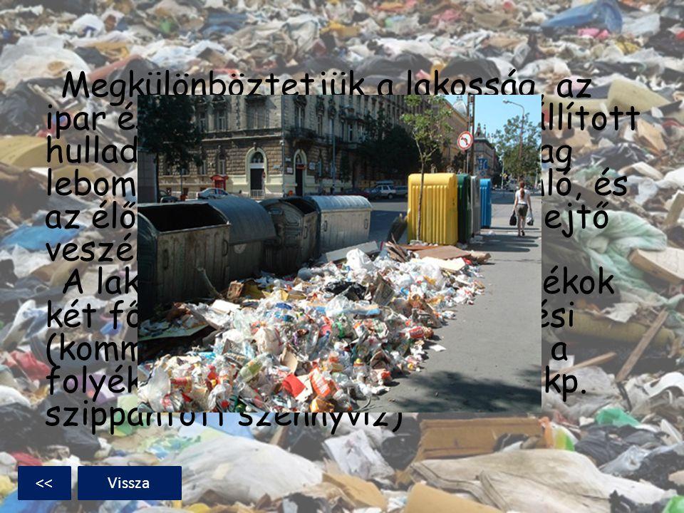 Megkülönböztetjük a lakosság, az ipar és más szektorok által előállított hulladékot; valamint a biológiailag lebomló, biológiailag le nem bomló, és az
