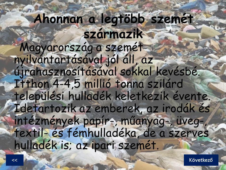 Ahonnan a legtöbb szemét származik Magyarország a szemét nyilvántartásával jól áll, az újrahasznosításával sokkal kevésbé. Itthon 4-4,5 millió tonna s