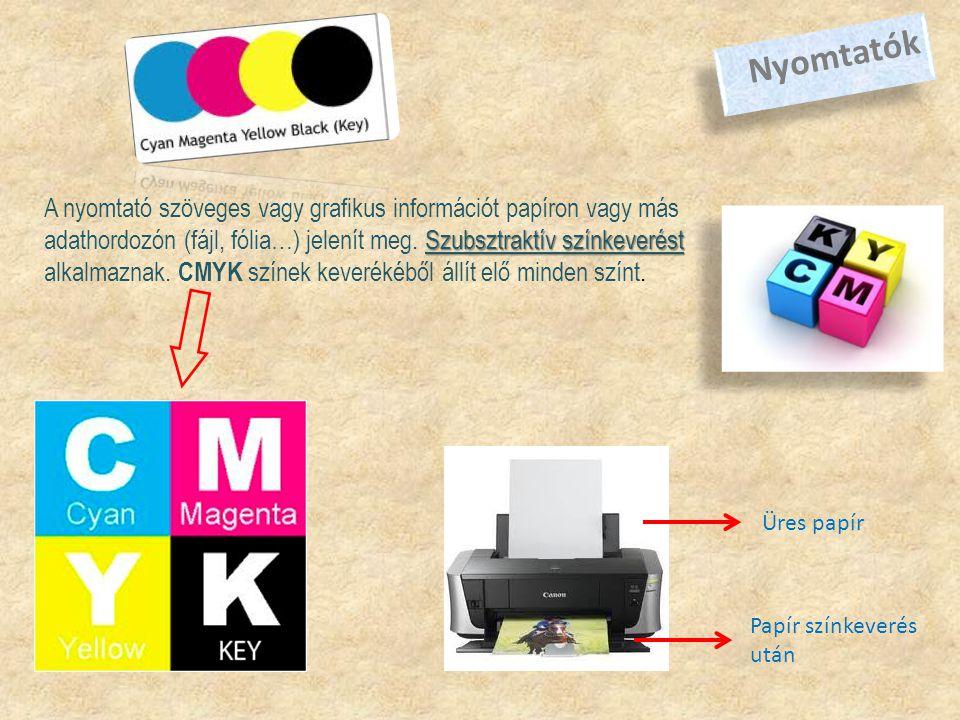 Nyomtatók Üres papír Papír színkeverés után Szubsztraktív színkeverést A nyomtató szöveges vagy grafikus információt papíron vagy más adathordozón (fájl, fólia…) jelenít meg.