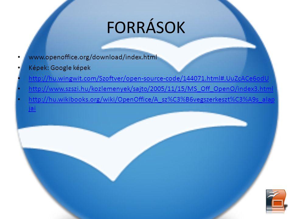 FORRÁSOK www.openoffice.org/download/index.html Képek: Google képek http://hu.wingwit.com/Szoftver/open-source-code/144071.html#.UuZcACe6odU http://ww