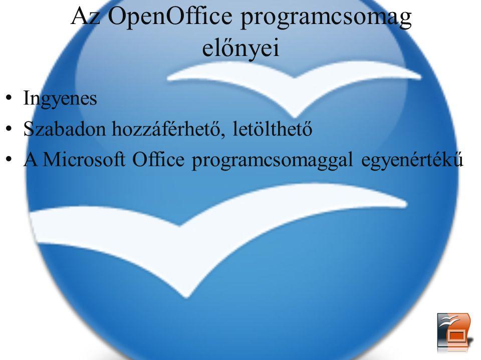 Az OpenOffice programcsomag előnyei Ingyenes Szabadon hozzáférhető, letölthető A Microsoft Office programcsomaggal egyenértékű