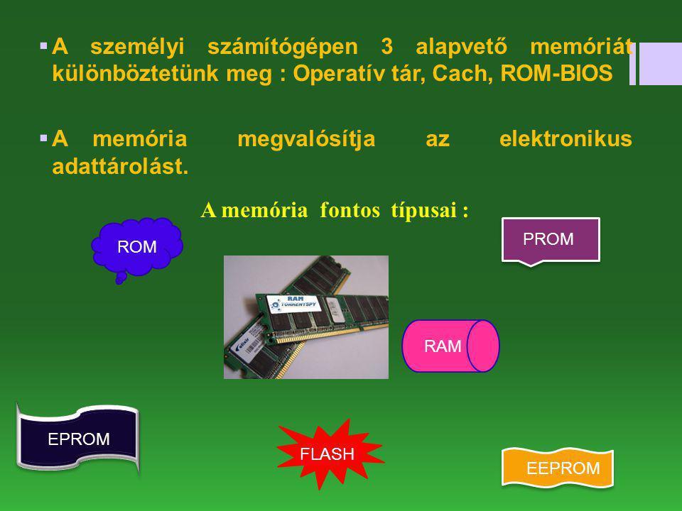  A személyi számítógépen 3 alapvető memóriát különböztetünk meg : Operatív tár, Cach, ROM-BIOS  A memória megvalósítja az elektronikus adattárolást.