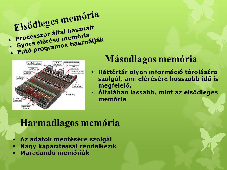  Processzor által használt  Gyors elérésű memória  Futó programok használják Elsődleges memória Másodlagos memória  Háttértár olyan információ tár