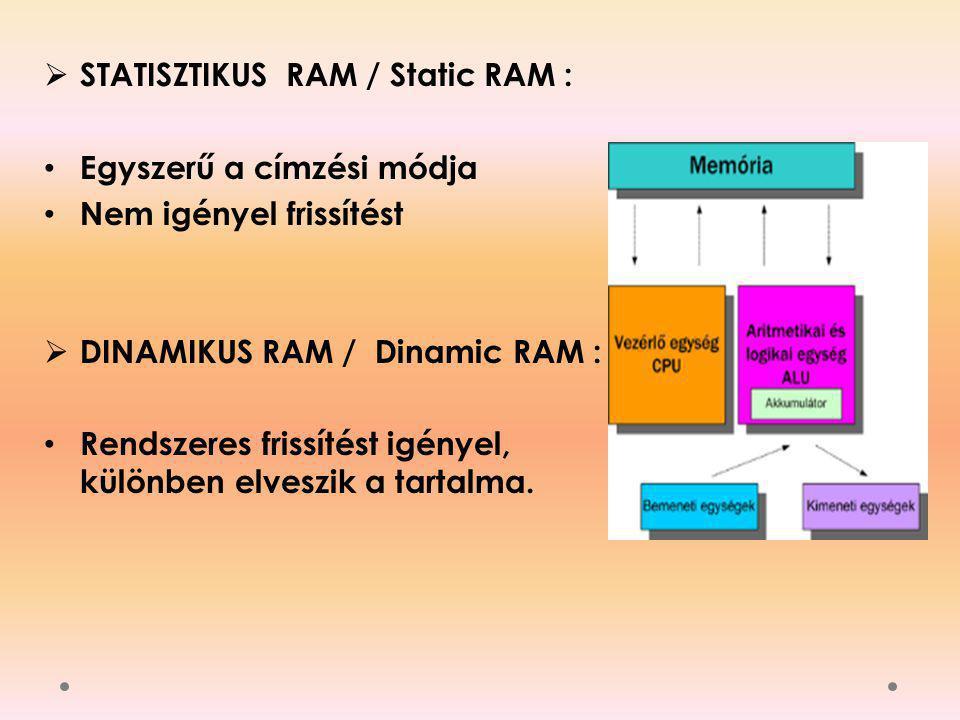  STATISZTIKUS RAM / Static RAM : Egyszerű a címzési módja Nem igényel frissítést  DINAMIKUS RAM / Dinamic RAM : Rendszeres frissítést igényel, külön