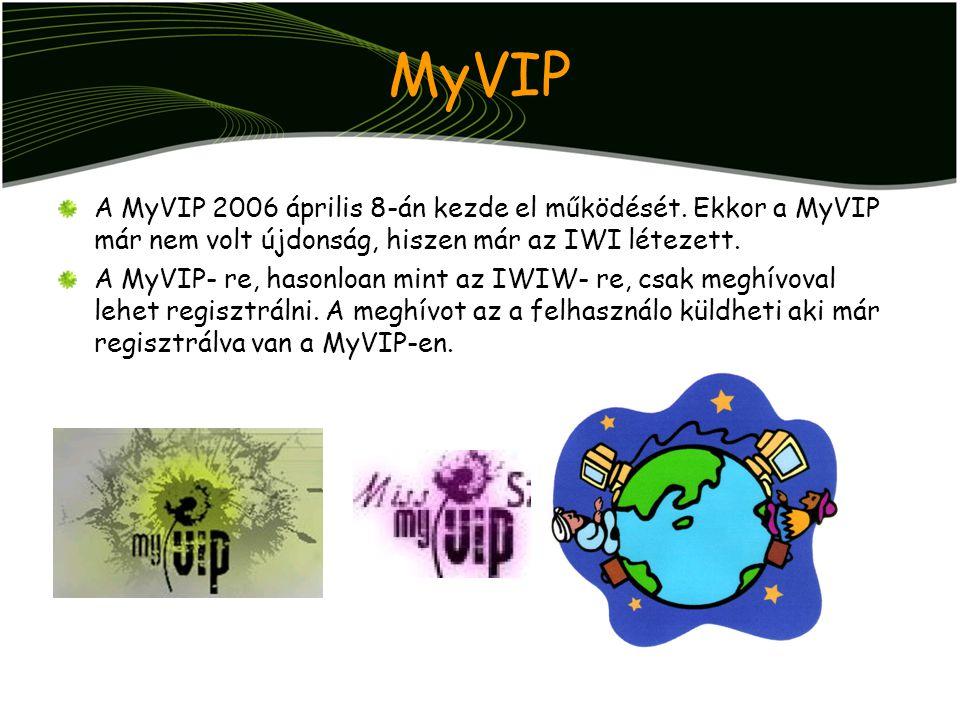 MyVIP A MyVIP 2006 április 8-án kezde el működését. Ekkor a MyVIP már nem volt újdonság, hiszen már az IWI létezett. A MyVIP- re, hasonloan mint az IW
