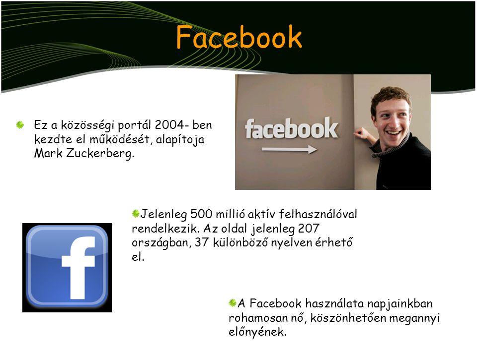 Facebook Ez a közösségi portál 2004- ben kezdte el működését, alapítoja Mark Zuckerberg. A Facebook használata napjainkban rohamosan nő, köszönhetően