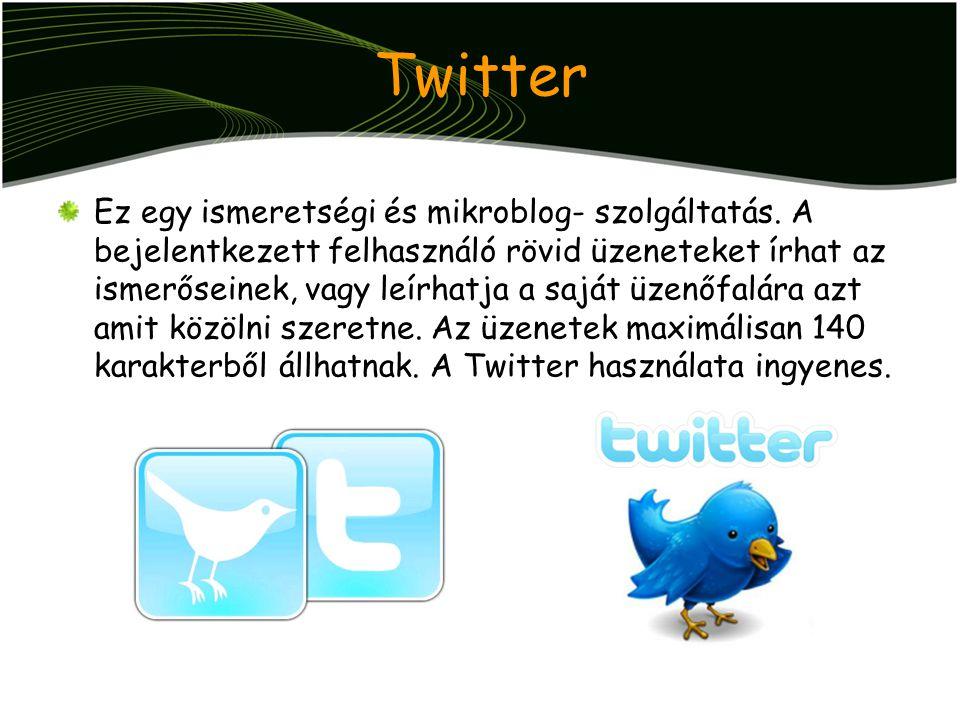 Twitter Ez egy ismeretségi és mikroblog- szolgáltatás. A bejelentkezett felhasználó rövid üzeneteket írhat az ismerőseinek, vagy leírhatja a saját üze