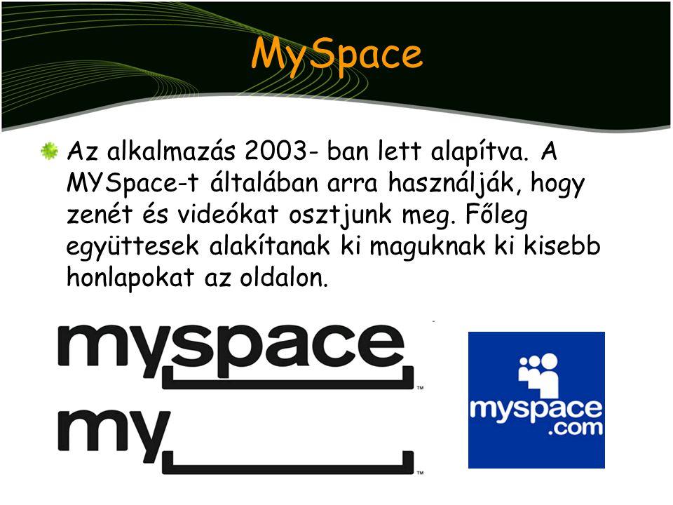 MySpace Az alkalmazás 2003- ban lett alapítva. A MYSpace-t általában arra használják, hogy zenét és videókat osztjunk meg. Főleg együttesek alakítanak