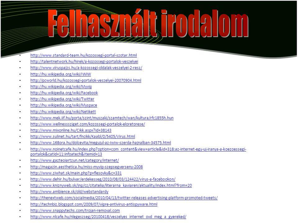 http://www.standard-team.hu/kozossegi-portal-szotar.html http://talentnetwork.hu/hirek/a-kozossegi-portalok-veszelyei http://www.viruspajzs.hu/a-kozos