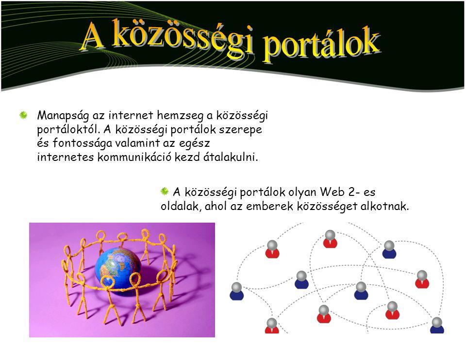 Manapság az internet hemzseg a közösségi portáloktól. A közösségi portálok szerepe és fontossága valamint az egész internetes kommunikáció kezd átalak