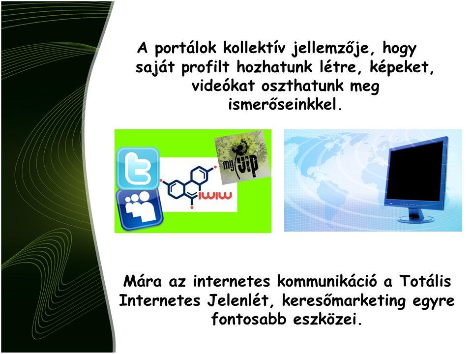 A portálok kollektív jellemzője, hogy saját profilt hozhatunk létre, képeket, videókat oszthatunk meg ismerőseinkkel. Mára az internetes kommunikáció