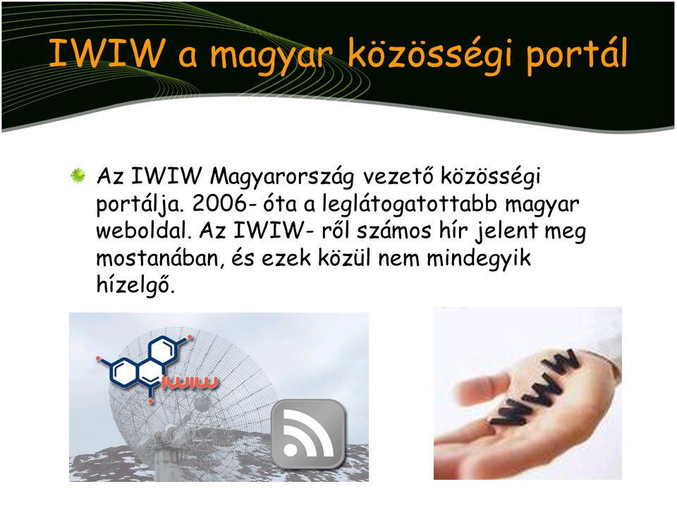 IWIW a magyar közösségi portál Az IWIW Magyarország vezető közösségi portálja. 2006- óta a leglátogatottabb magyar weboldal. Az IWIW- ről számos hír j