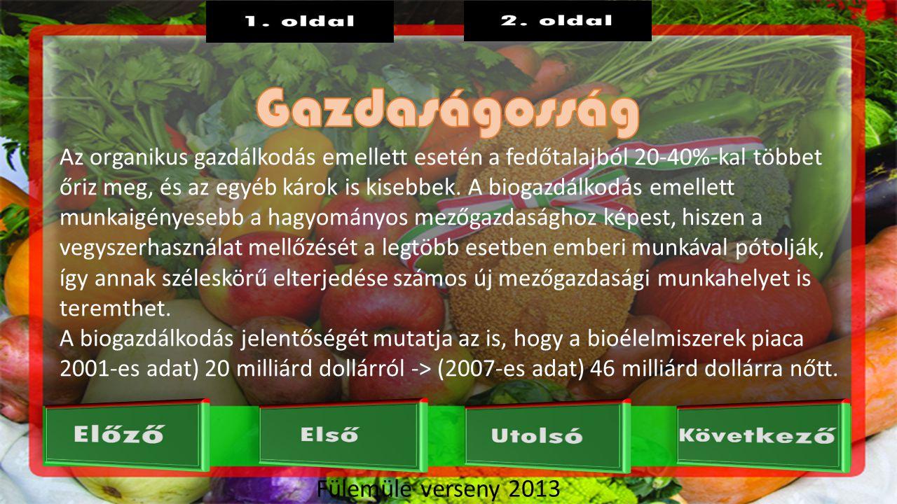 Fülemüle verseny 2013 Az organikus gazdálkodás emellett esetén a fedőtalajból 20-40%-kal többet őriz meg, és az egyéb károk is kisebbek.