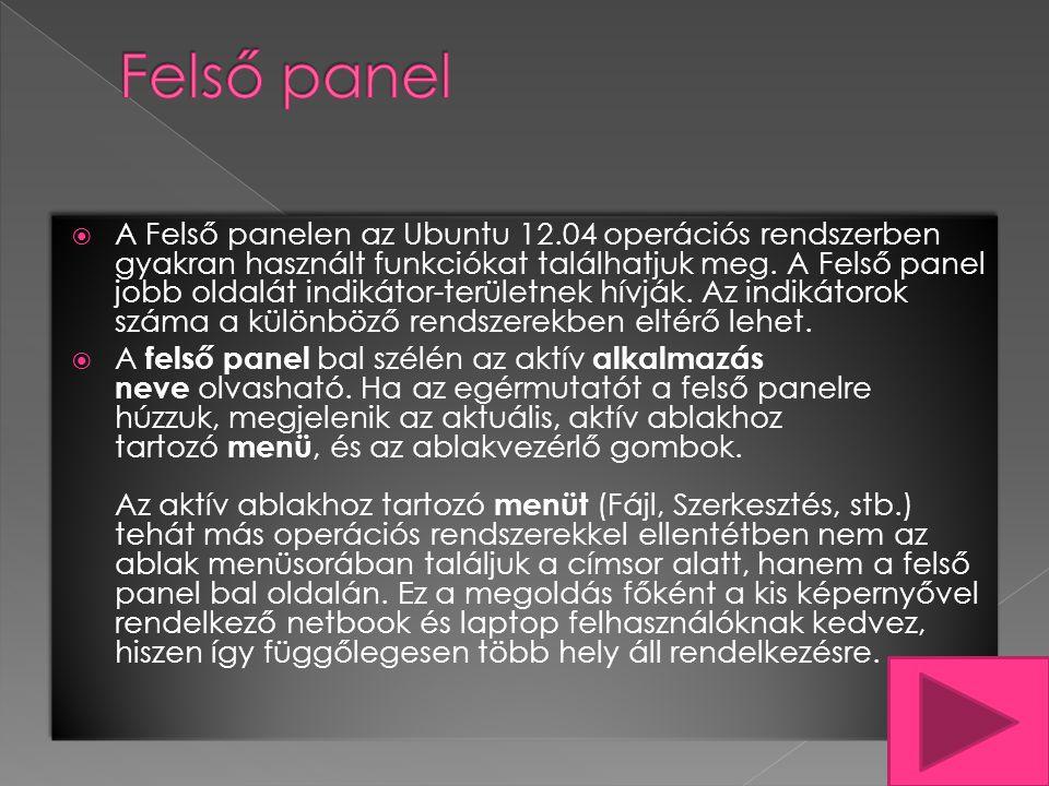  A Felső panelen az Ubuntu 12.04 operációs rendszerben gyakran használt funkciókat találhatjuk meg.