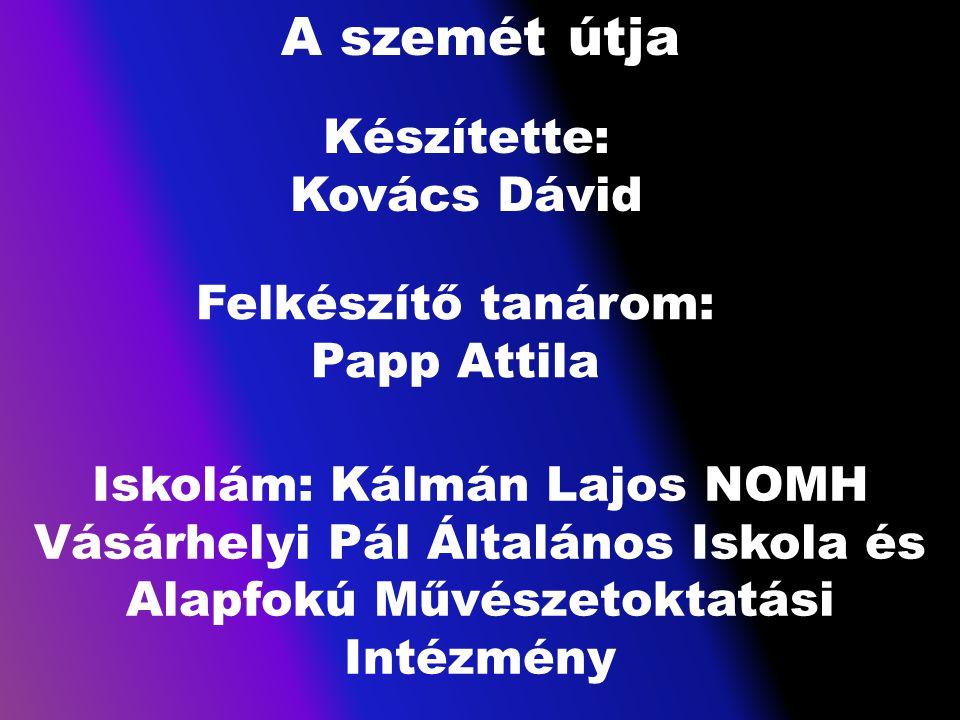A szemét útja Készítette: Kovács Dávid Felkészítő tanárom: Papp Attila Iskolám: Kálmán Lajos NOMH Vásárhelyi Pál Általános Iskola és Alapfokú Művészet