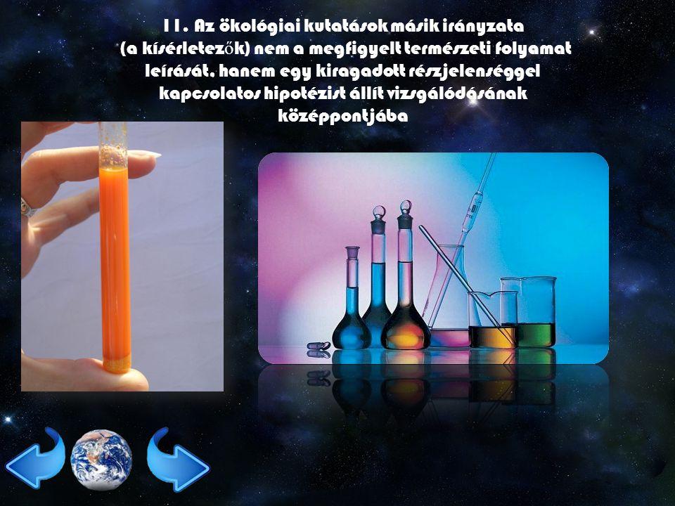 11. Az ökológiai kutatások másik irányzata (a kísérletez ő k) nem a megfigyelt természeti folyamat leírását, hanem egy kiragadott részjelenséggel kapc