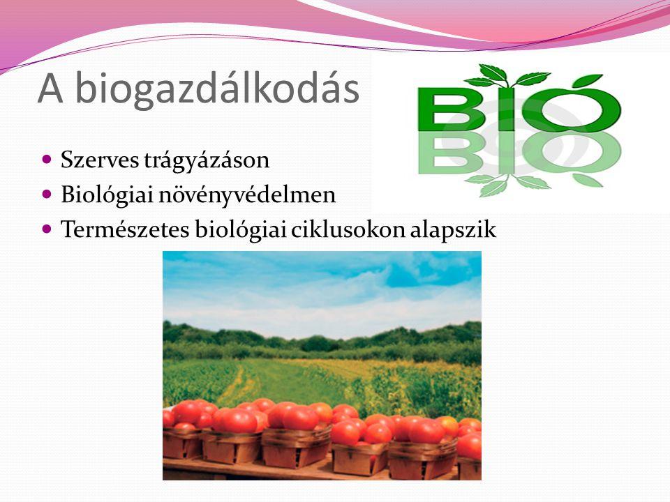 A biogazdálkodás Szerves trágyázáson Biológiai növényvédelmen Természetes biológiai ciklusokon alapszik