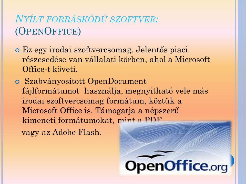 N YÍLT FORRÁSKÓDÚ SZOFTVER : (O PEN O FFICE ) Ez egy irodai szoftvercsomag. Jelentős piaci részesedése van vállalati körben, ahol a Microsoft Office-t