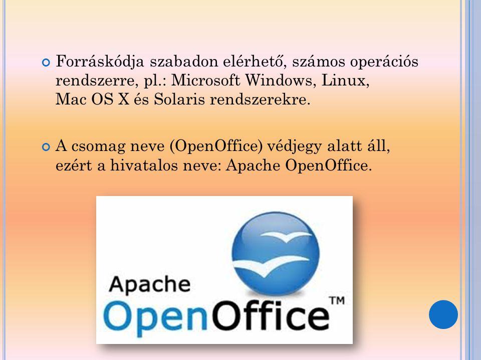 Forráskódja szabadon elérhető, számos operációs rendszerre, pl.: Microsoft Windows, Linux, Mac OS X és Solaris rendszerekre. A csomag neve (OpenOffice