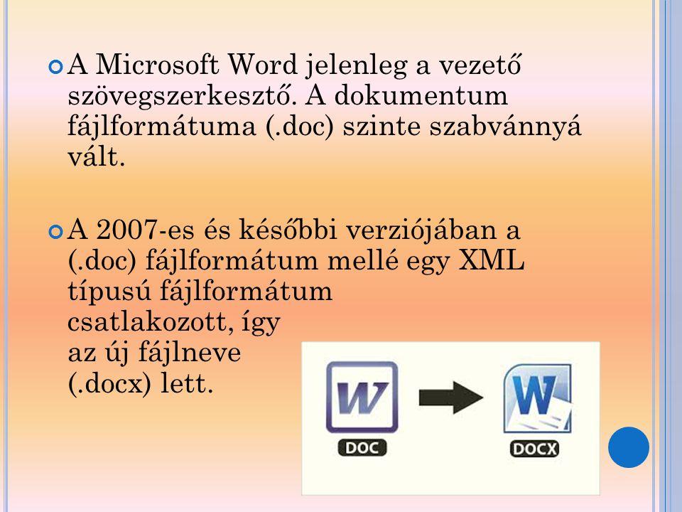 A Microsoft Word jelenleg a vezető szövegszerkesztő. A dokumentum fájlformátuma (.doc) szinte szabvánnyá vált. A 2007-es és későbbi verziójában a (.do