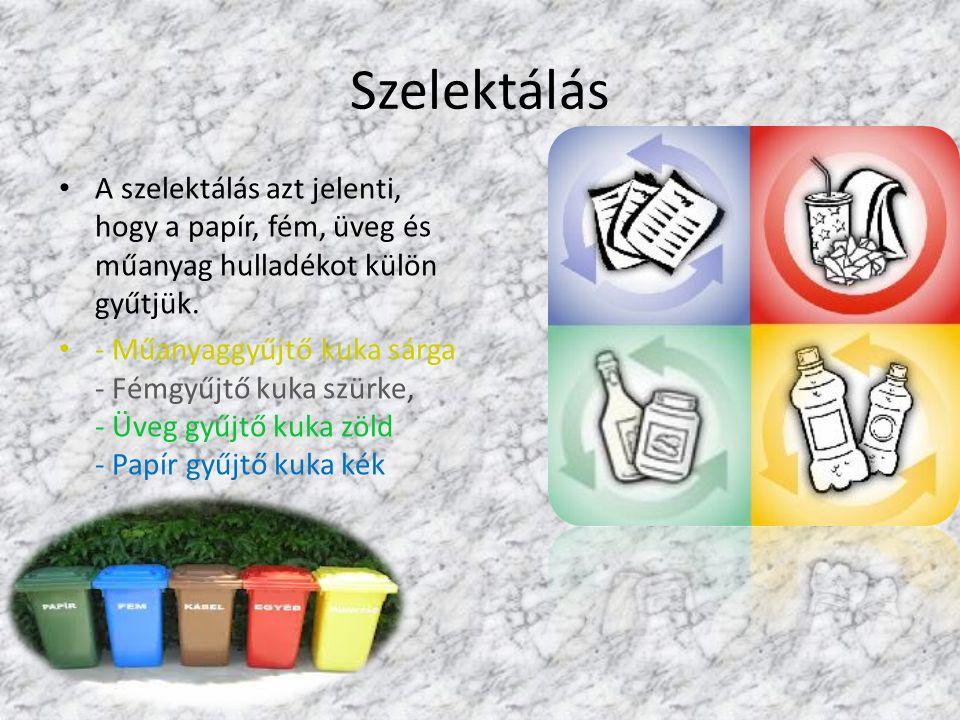 Szelektálás A szelektálás azt jelenti, hogy a papír, fém, üveg és műanyag hulladékot külön gyűtjük. - Műanyaggyűjtő kuka sárga - Fémgyűjtő kuka szürke