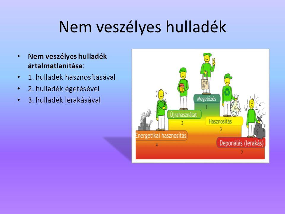 Nem veszélyes hulladék Nem veszélyes hulladék ártalmatlanítása: 1. hulladék hasznosításával 2. hulladék égetésével 3. hulladék lerakásával