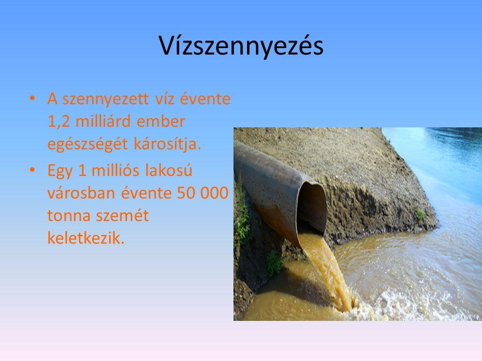 Vízszennyezés A szennyezett víz évente 1,2 milliárd ember egészségét károsítja. Egy 1 milliós lakosú városban évente 50 000 tonna szemét keletkezik.