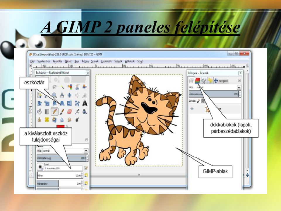 Mi is az a GIMP? A GIMP egy sok oldalú, széles körűen felhasználható program, melynek segítségével manipulálhatunk, szerkeszthetünk és létrehozhatunk