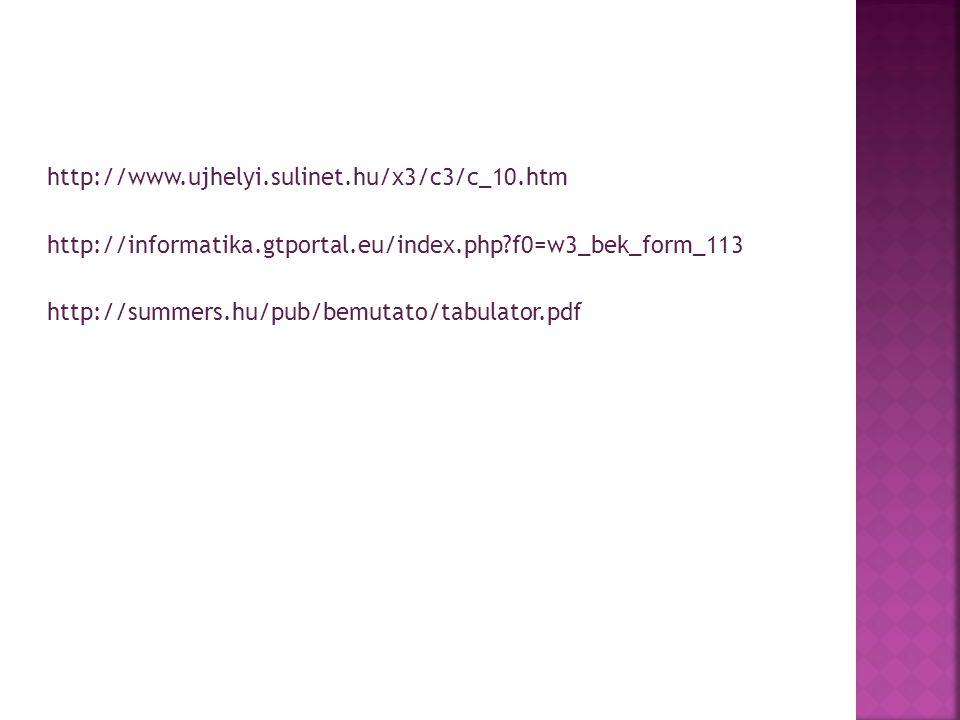 http://www.ujhelyi.sulinet.hu/x3/c3/c_10.htm http://informatika.gtportal.eu/index.php?f0=w3_bek_form_113 http://summers.hu/pub/bemutato/tabulator.pdf