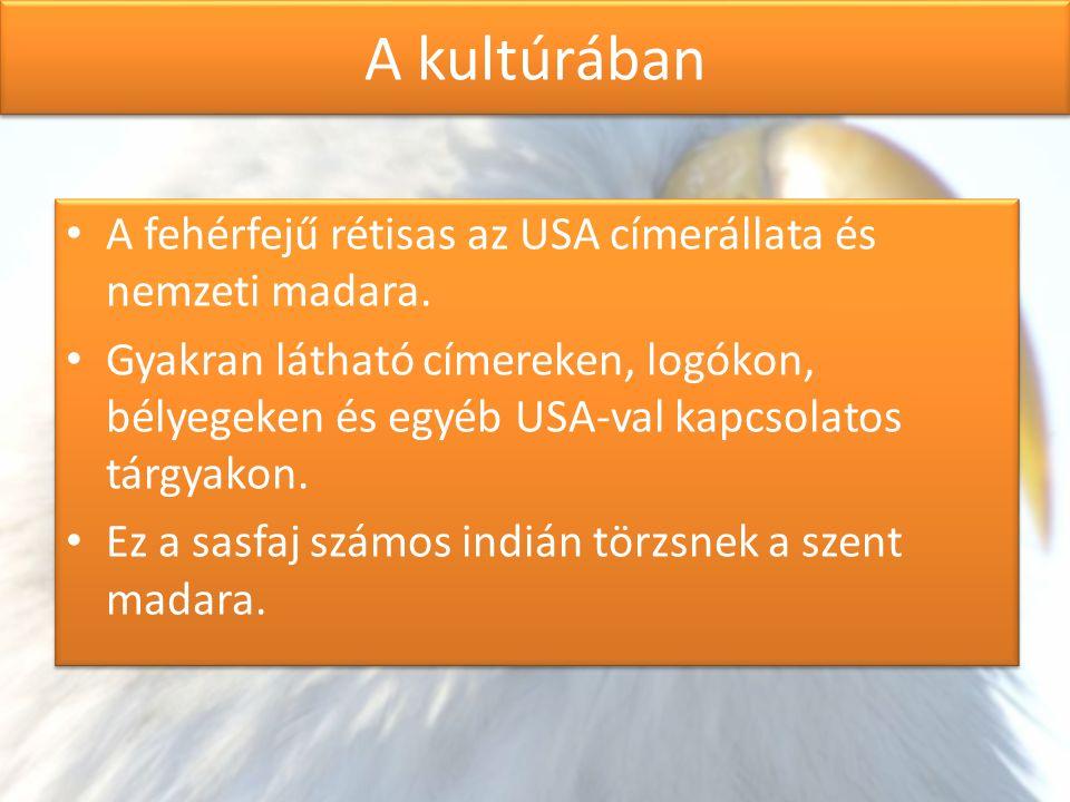 A kultúrában A fehérfejű rétisas az USA címerállata és nemzeti madara. Gyakran látható címereken, logókon, bélyegeken és egyéb USA-val kapcsolatos tár