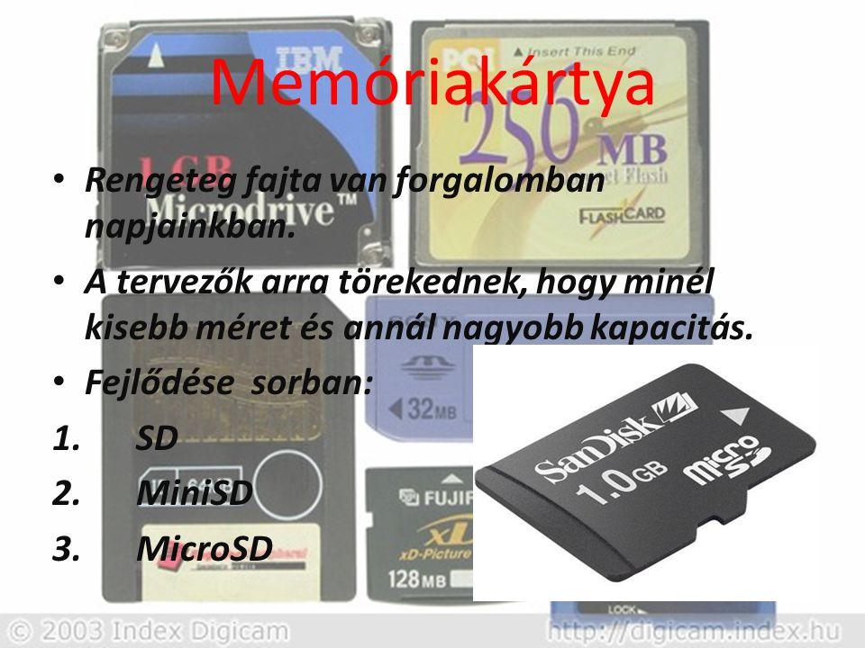 Memóriakártya Rengeteg fajta van forgalomban napjainkban.
