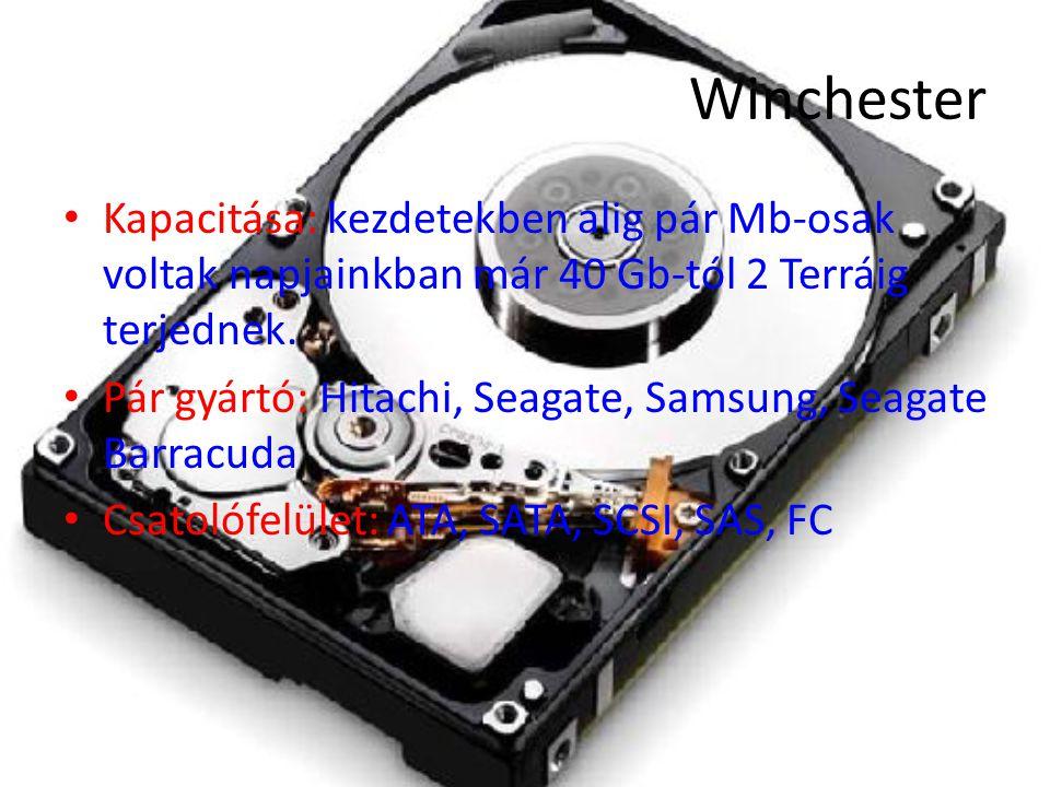Winchester Kapacitása: kezdetekben alig pár Mb-osak voltak napjainkban már 40 Gb-tól 2 Terráig terjednek.