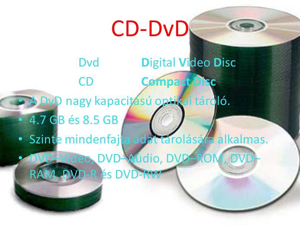 CD-DvD Dvd Digital Video Disc CD Compact Disc A DvD nagy kapacitású optikai tároló.