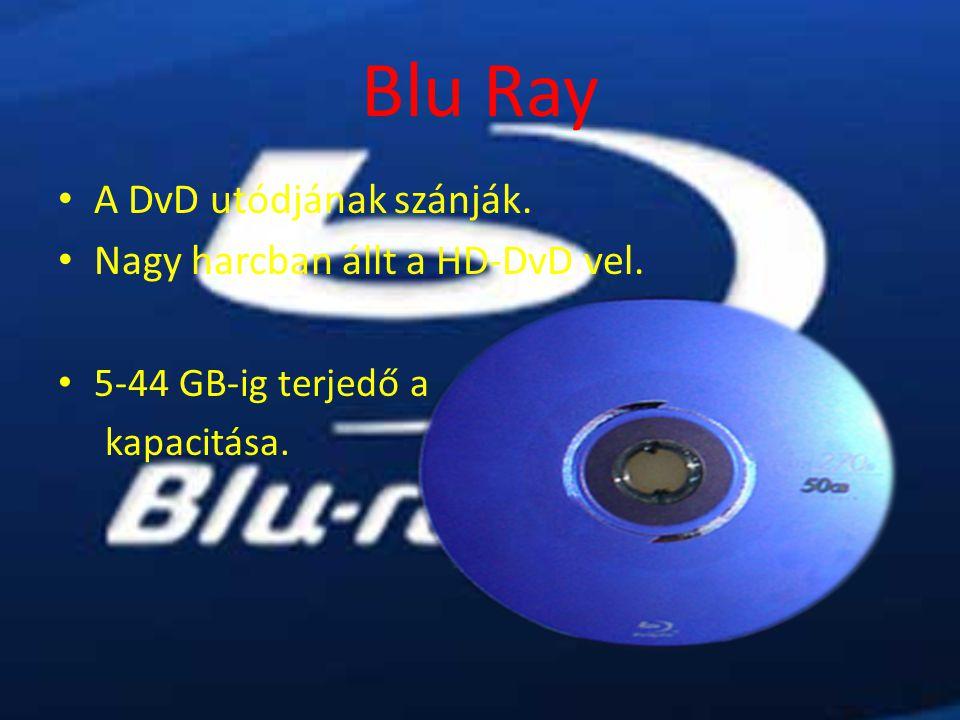 Blu Ray A DvD utódjának szánják. Nagy harcban állt a HD-DvD vel. 5-44 GB-ig terjedő a kapacitása.