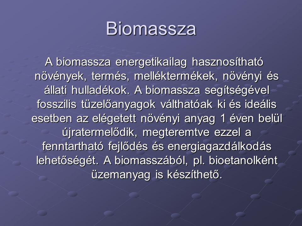 Biomassza A biomassza energetikailag hasznosítható növények, termés, melléktermékek, növényi és állati hulladékok. A biomassza segítségével fosszilis